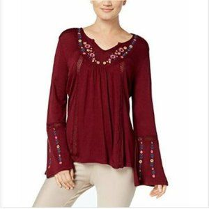 NY Collection L Burgundy Blouse Knit Embroidered